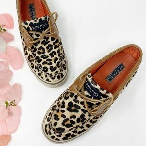Sperry Leopard Calf Hair Leather Loafers Sz 6.5